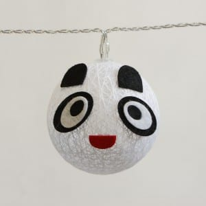 Natural Materials Panda Cotton Ball String Light Battery Operated
