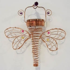 Dragonfly Wire Lantern Solar Operated Outdoor Decoration