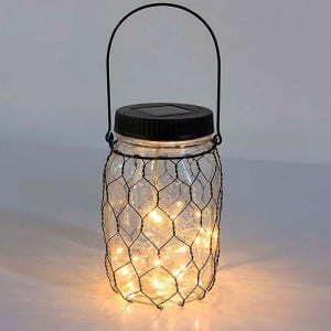 Solar Glass Mason Jar Lights with Wire Cover