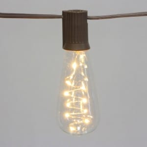 Edison String Light Bulbs Brown Wire Solar Operated