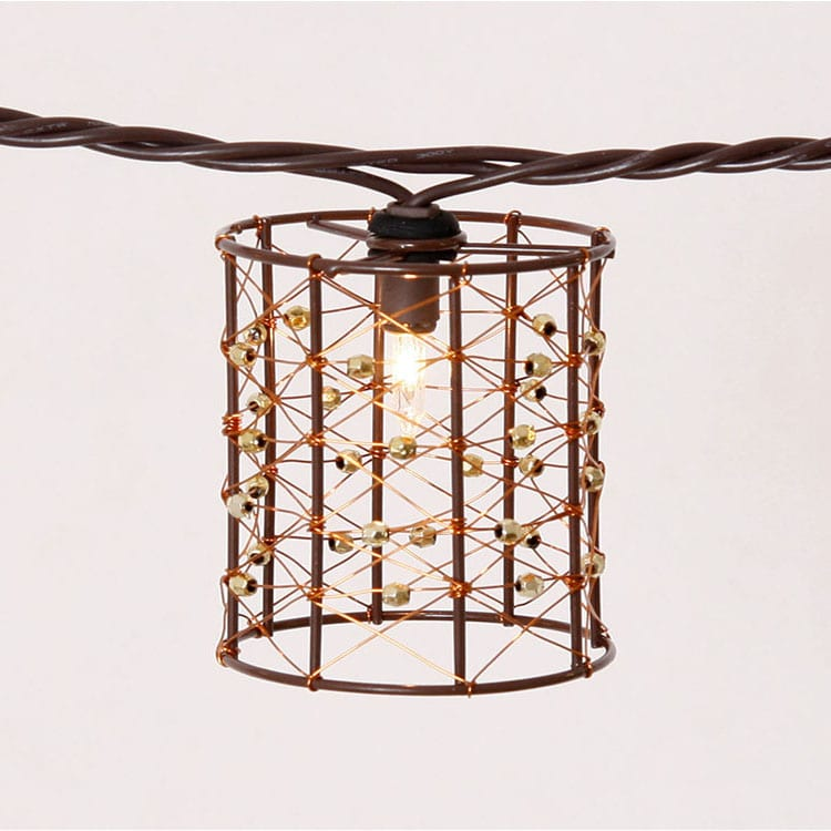 Lacquered Tinplate Wooden Craft Cover String Lights -