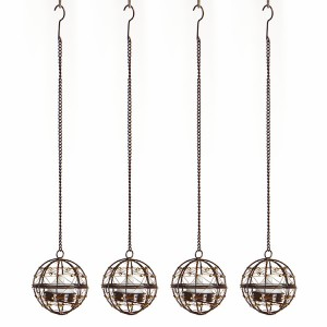 3PK Hanging Solar Tea Light Holders Outdoor