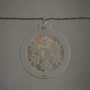 Natural Materials White Round Wooden Snow Pattern String Light