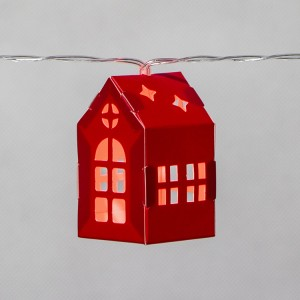 Christmas Decoration 3D Paper House LED String Light Battery Operated