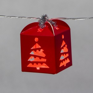 3D Paper Gift Box Christmas LED String Light Battery Operated