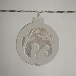 Natural Materials Round White Wooden Tree Pattern String Light