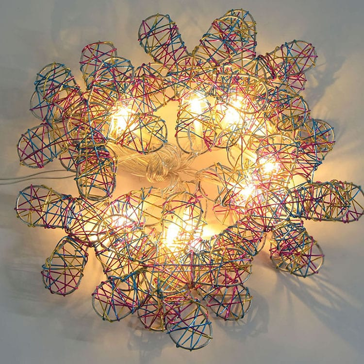 Matt Pre-Painted Steel Coil String Of Edison Bulbs -