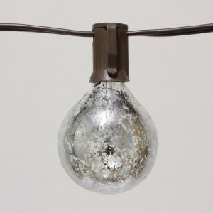 Outdoor Globe Lights String G50 with Foil Silver Bulbs