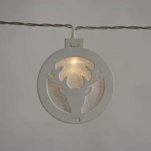 Natural Materials Round White Wooden Antlers Pattern String Light