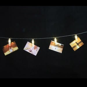 20 Clear Clip String Lights Battery Operated for Photo Decor KF02307-BO