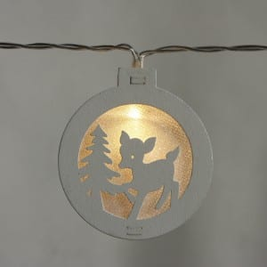 Natural Materials Round White Wooden Deer Pattern String Light