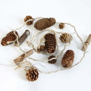 Natural Material Pine Cones Style 15 LED String Light Outdoor