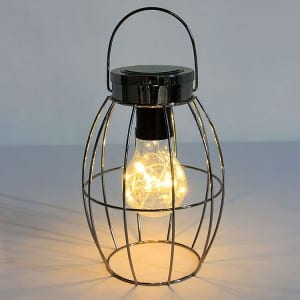 Metal Wire Frame Solar Lantern with Hanging Handle