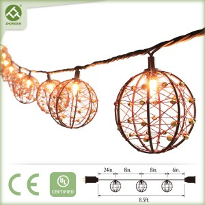 Decorative Lights String Patio Copper Wire Ball Style
