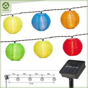 10 LED Multicolor Fabric Solar Lantern String Light