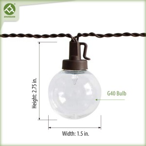50 Count Solar Powered G40 Bulb Outdoor String Light