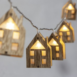 Christmas Decorative Lighting LED 3D Wooden House Christmas String Lights