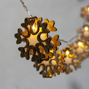 Christmas Decorative Lighting LED 3D Wooden Snowflake Christmas String Lights