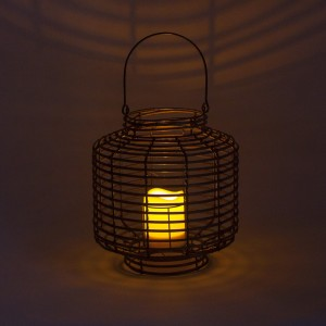 Rattan Outdoor Solar Lantern Patio Decor with LED Candle