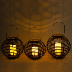 Rattan Solar Candle Lantern Hanging Decor for Garden