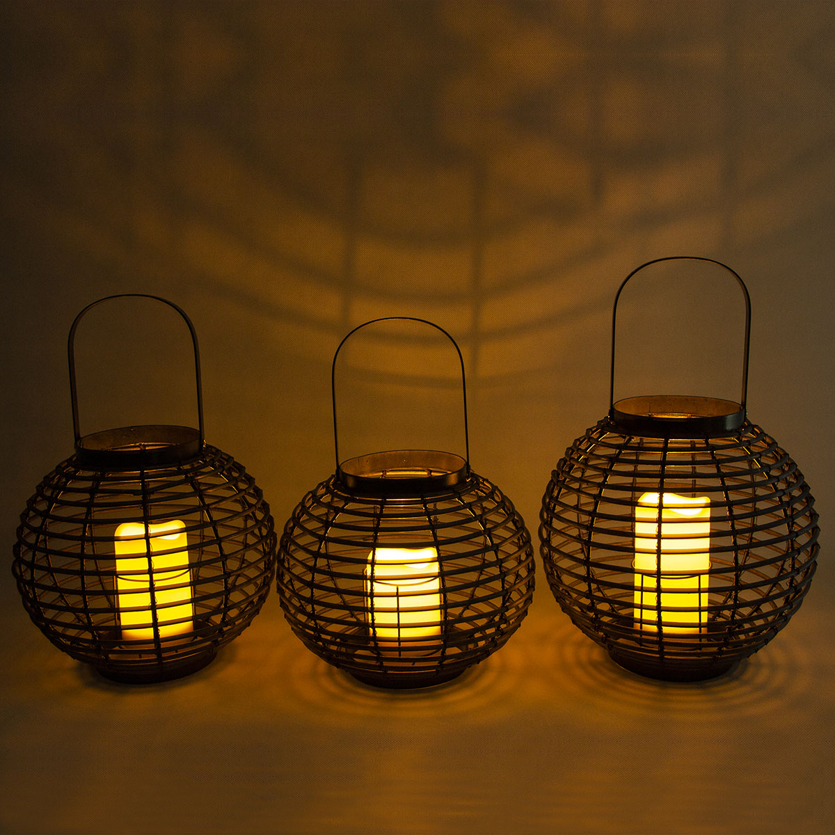 Rattan Solar Candle Lantern Hanging Decor for Garden Featured Image
