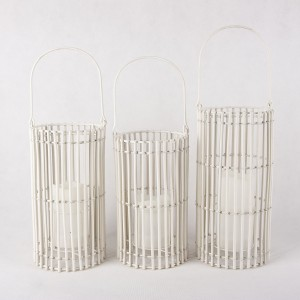 Solar Rattan Candle Lantern Outdoor with White Color Cover