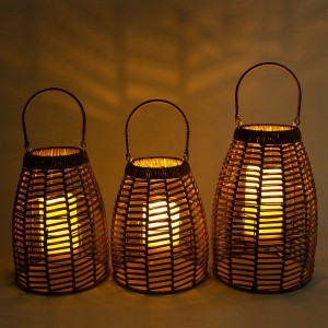 Hanging Solar Rattan Lantern Table Decor for Outdoors