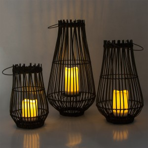 Solar Candle Lantern Rattan for Garden Decor