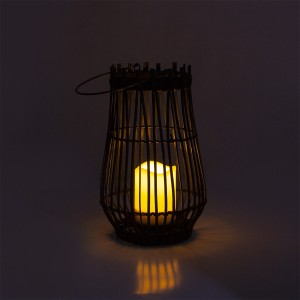 Solar Candle Lantern Rattan for Garden Decor