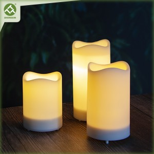 3PK Waterproof Pillar Solar Candles Lights Outdoor