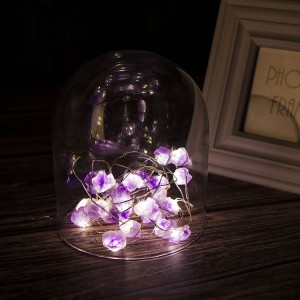 Amethyst LED String Lights Battery Operated 10 ft 25 LEDs Natural Crystal String Lights for Bedroom Party Indoor Wedding
