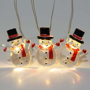 Holiday Decoration Christmas Snowman LED String Light Battery Operated