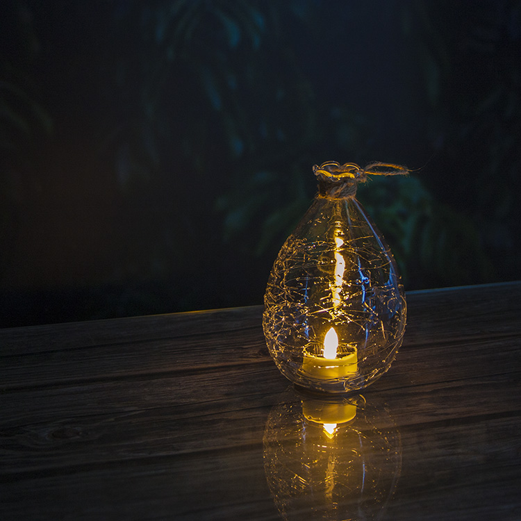 Crack Ball Garden Solar Lantern with Solar Tea Light Featured Image