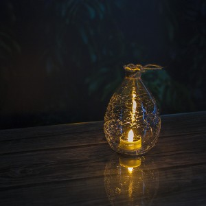 Crack Ball Garden Solar Lantern with Solar Tea Light