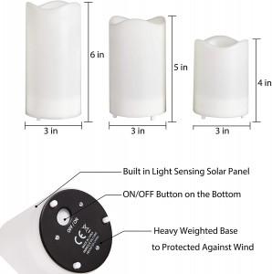 Set of 3 Waterproof Pillar Solar Candles Lights Outdoor