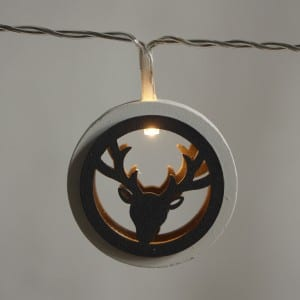Natural Materials Round Wooden Antlers Style LED String Light