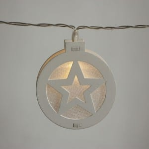 Natural Materials Round White Wooden Star String Light