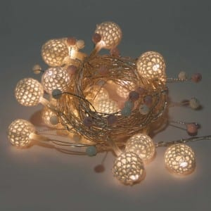 Natural Materials White Ball Battery Operated String Light