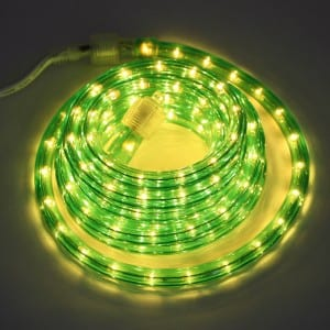 LED Rope Lights Green with Connectable Clear Bulbs KF21001G
