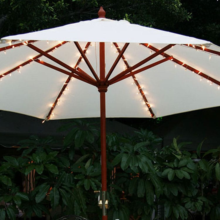 120V Umbrella String Lights Brown Wire LED Decoration KF01007 Featured Image