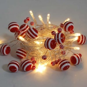Red White Stripe Plastic Beads LED String Light