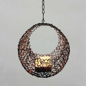 Solar Umbrella Dangler Metal Wire Candle Holder